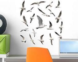 Amazon Com Wallmonkeys Seabirds Seagull Bird Wall Decal Sticker Set Individual Peel And Stick Graphics On A 18 In H X 18 In W Sticker Sheet Wm381123 Furniture Decor