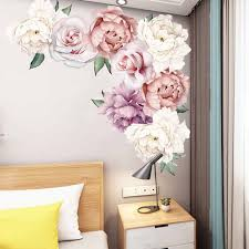 Peony Rose Flowers Wall Art Sticker Decals Vinyl Stickers Kid Room Nursery Home Decor Wallpaper For Bedroom Living Room Wall Stickers Aliexpress