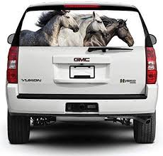 Amazon Com Nat999lily Rear Window Graphic Decal For Truck Suv Pickup Horse Car Sticker Vinyl Decals See Thru Window Graphics Funny Stciker M499258 14x53 Home Kitchen