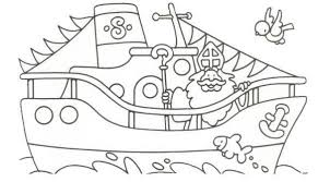 Sinterklaas Kleurplaat Sint Boot Stoomboot Vlaggetjes