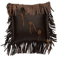 accent brown leather throw pillow 16 x 16
