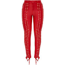 faux leather lace up skinny trousers