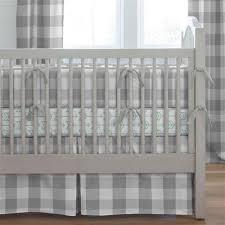gray buffalo check crib bedding