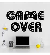 Vinyl Sticker Wall Decal Gamer Wall Decal Game Over Wall Decal Geek Gift For Man Living Room Decor Gamepad Wall Decal Boy Room Decor Videogame Wall Decal Geek Wall Decal Teen Boy