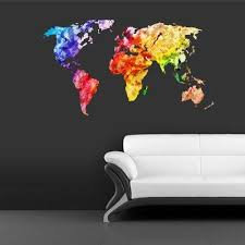 Amazon Com Stickersforlife Full Color Wall Decal Mural Sticker Decor Art World Map Watercolor Water Paintings Col346 Posters Prints