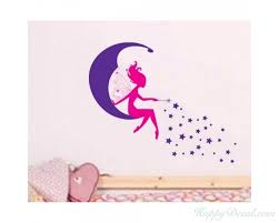 Moon Fairy And Stars Wall Sticker Baby Girls Wall Art For Baby Girls Nursery Room Cute Wallpaper Home Decors