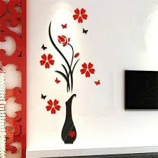Cabinet Stickers 3d Flower Wall Sticker Tree Home Decor Diy Wall Vase Flower For Sale Online