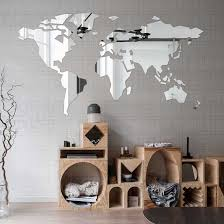 Mirror Wall Stickers Sticker Room Decoration Bedroom Decor Living Room Decals Living Large Abstract World Map Time Zone R137 Wall Stickers Aliexpress