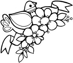 Het Is Lente Dit Is Een Bloementak Met Een Vogel Erop Kleurplaat