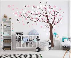 Amazon Com Aiyang Cherry Blossom Tree Wall Decals White Pink Flowers Wall Stickers For Baby Nursery Bedroom Living Room Decoration Coffee Brown Left Kitchen Dining