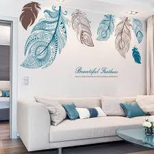 Large Feathers Wall Decals Turquoise Living Room Decor Feather Wall Decal Wall Stickers Living Room