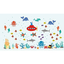 Sea Wall Decals Ocean Themed Decals Nursery Wall Decals Baby Room Under The Sea Marine Life Stickers Shark Turtle Submarine Baby Stuff Kids Room Decorations Wall Stickers Walmart Com Walmart Com