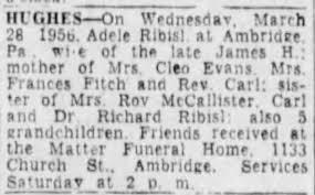 Ribisl, Adele Hughes. obit 30 Mar 1956 - Newspapers.com