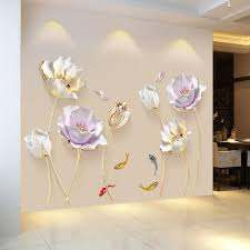 Chinese Style Flower 3d Wallpaper Wall Stickers Living Room Bedroom Bathroom Home Decor Decoration Poster Wall Decals For Girls Room Wall Decals For Home From Amaryllier 17 31 Dhgate Com