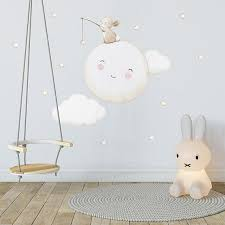 Repositionable Fabric Wall Decal Full Moon Nursery Wall Etsy Fabric Wall Decals Nursery Stickers Nursery Wall Decals