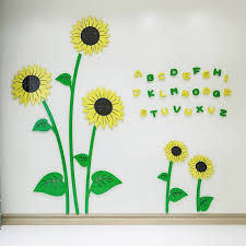 3d Cartoon Beautiful Sunflower Wall Stickers For House Decoration Kids Room Decals Buy Sunflower Walll Sticker Kids Room Decals Playroom Wall Sticker Product On Alibaba Com