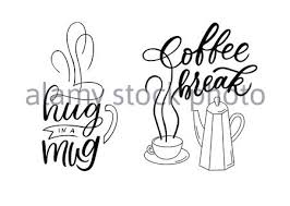 coffee quotes lettering set drawn art sign stock vector art
