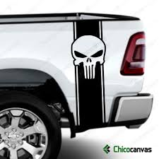 Punisher Skull Rear Truck Bed Graphic Decal Racing Vinyl Stripes Sticker Kit Chicocanvas