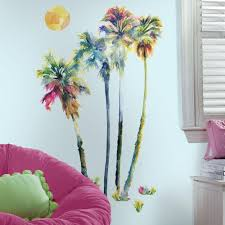 Roommates 5 In W X 19 In H Watercolor Palm Trees 14 Piece Peel And Stick Giant Wall Decal Rmk2782gm The Home Depot