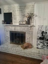 grey paint wash on a brick fireplace