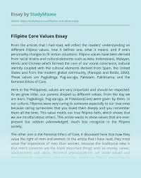 filipino core values essay example