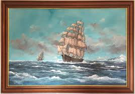 Clipper Ship Marine Oil Painting by Adrian Thompson (British, 20th ...