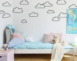 Sketched Cloud Wall Decals Hand Drawn Cloud Decals Nursery Etsy