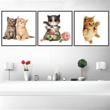 Cute Kitten Cat Canvas Art Painting Poster Kids Room Picture Wall Home Decor Ebay