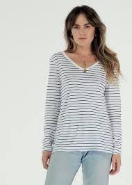 Cle | Abigail Long Sleeve Cotton Tee - Stripe | Casual Active Basics – FOX  AND SCOUT
