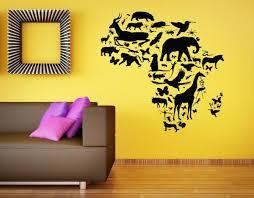 Wall Vinyl Sticker Room Decals Mural Design Africa Map Continent Animal Bo1246 Ebay
