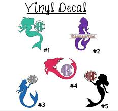 Mermaid Monogram 3 Vinyl Decal Sticker For Car Tumbler Cup Wine Glass Mug