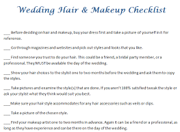 wedding hair and makeup checklist