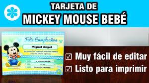 Invitaciones De Mickey Mouse Bebe Gratis Para Editar E Imprimir
