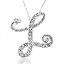 cursive alphabet l diamond necklace