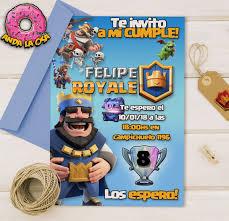 Tarjetas Invitaciones Cumpleanos Clash Royale X10uni 60 00