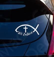 Ichthys Jesus Fish We Believe Christian Decal Car Laptop Etsy Christian Car Decals Christian Decals Car Decals