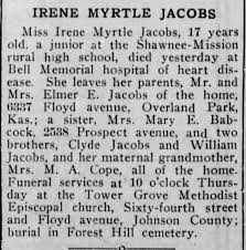 Obituary for IRENE MYRTLE JACOBS (Aged 17) - Newspapers.com