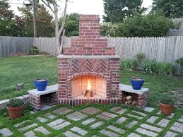 outdoor fireplace brick