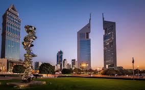 تحميل خلفيات أبراج الإمارات ناطحات السحاب دبي مساء غروب الشمس
