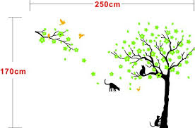 Black Tree Birds And Cats Wall Decals Removable Tree Wall Sticker Vinyl Wall Art Kids Room Living Room Bedroom Wall Decal Home Decor Green Baby B01m6bjaw8