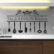Personalised Family Name Utensils Kitchen Design Vinyl Wall Art Sticker Decal Home Furniture D Kitchen Wall Art Stickers Kitchen Wall Art Sticker Wall Art