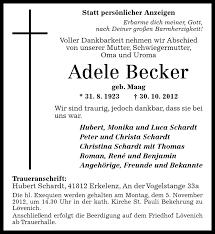 Traueranzeigen von Adele Becker   rz-Trauer.de