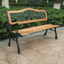 outdoor bench wood slats cast iron