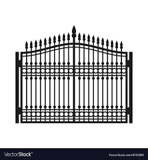 Fence Wrought Iron Gate Old Style Door Royalty Free Vector