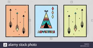 Adventure Inscription And Three Arrows For Print Typography Kids Room Wall Decor Of Wigwam Or Tipi In Scandinavian Style Set Colorful Poster For Nur Stock Vector Image Art Alamy