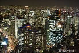 Tokyo Night Skyline Wall Mural Pixers We Live To Change