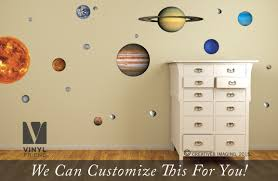 Solar System Vinyl Decal Pack Reusable Removalbe Repositionable Of All 9 Planets Sun Moon And Asteroid Space Theme Wall Decor