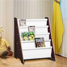 Yescom Kids Sling Bookshelf Book Storage Display Holder Walnut Yescomusa