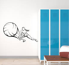 Vinyl Wall Decal Volleyball Player Ball Sports Girl Beach Game Sticker Wallstickers4you