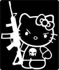 Hello Kitty Punisher With Gun Window Vinyl Car Or Truck Decal Sticker Very Cute Ebay